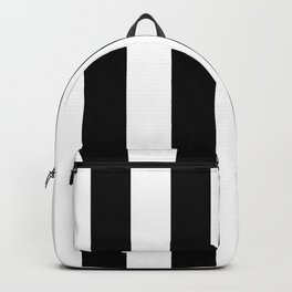 Midnight Black and White Vertical Cabana Tent Stripes Backpack
