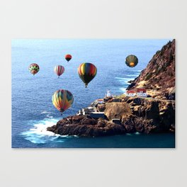 Flying Colorful Hot air Balloons over Newfoundland Canvas Print