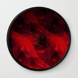 Abstract polygonal pattern.Red, black triangles. Wall Clock