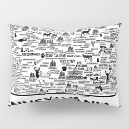 Pennsylvania Map Pillow Sham