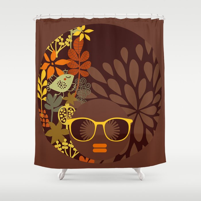 Afro Diva : Sophisticated Lady Retro Brown Shower Curtain by ...