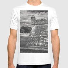 Castillo de San Marcos - black and white White MEDIUM Mens Fitted Tee