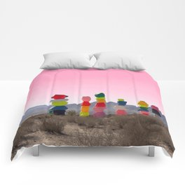 Seven Magic Mountains with Pink Sky - Las Vegas Comforters