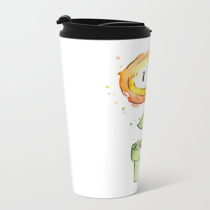Fireflower Watercolor Painting Metal Travel Mug