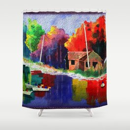 Watercolor Autumn Fishers 4 Shower Curtain