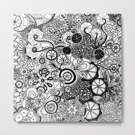 Growth in 3 Directions - Black and White Metal Print