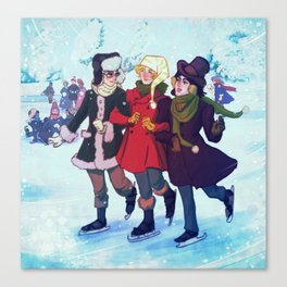 Enjolras, Combeferre and Courfeyrac Ice Skating Canvas Print