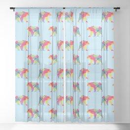 Fractal Bear - neon colorways Sheer Curtain