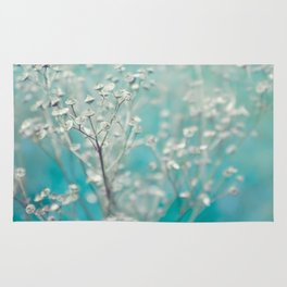 Ice blue - floral Rug