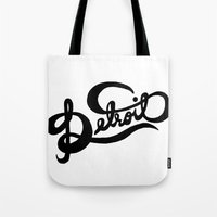 detroit Tote Bags featuring Detroit by Megan Carty