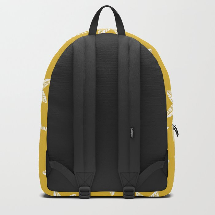 Palm Tree Pattern Mustard Yellow Backpack