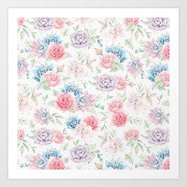 Blush pink teal watercolor hand painted cactus flowers Art Print