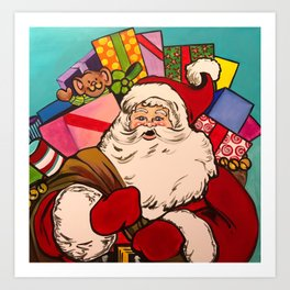 SANTA CLAUS WITH BOXES OF PRESENTS Art Print