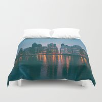 skyline Duvet Covers featuring skyline by Julia Yusupov