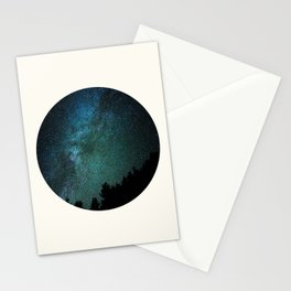 Mid Century Modern Round Circle Photo Milky Way Galaxy Blue Green Star Night Sky Stationery Cards