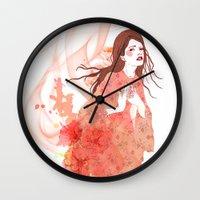 flora Wall Clocks featuring Flora by Anne Cresci