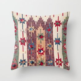 Horizontal Band Kilim 19th Century Authentic Colorful Purple Green Bands Vintage Patterns Throw Pillow