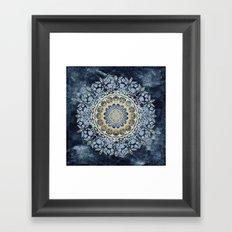 Blue Floral Mandala Framed Art Print