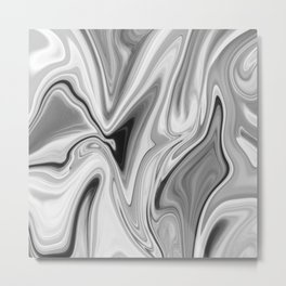 Liquid Gray Metal Print