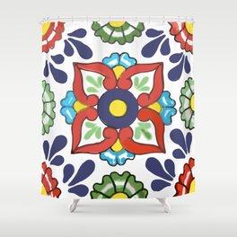 Talavera Mexican Green Floral Shower Curtain