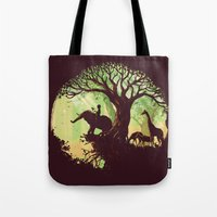 king Tote Bags featuring The jungle says hello by Picomodi