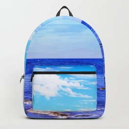 blue ocean view with blue cloudy sky in summer Backpack