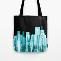 hologram Tote Bags featuring Hologram city panorama by GrandeDuc