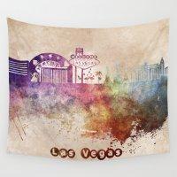 las vegas Wall Tapestries featuring Las Vegas skyline art by jbjart