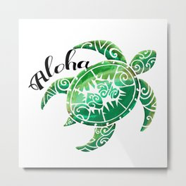 Vintage Hawaiian Distressed Turtle Metal Print