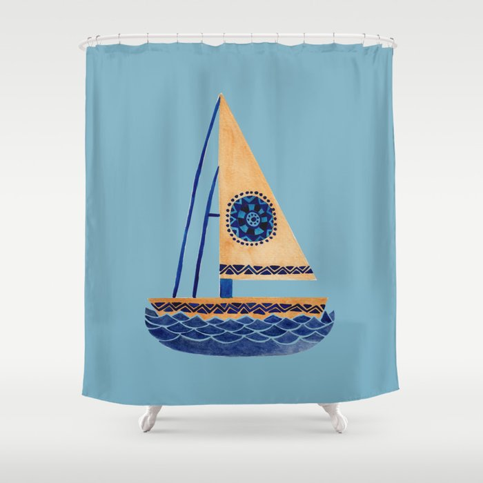 The Tribal Sailboat Shower Curtain