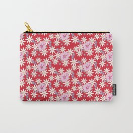 Pink Petunias Daisies Red Background Carry-All Pouch