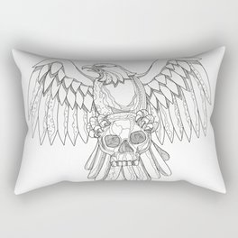American Eagle Clutching Skull Doodle Rectangular Pillow