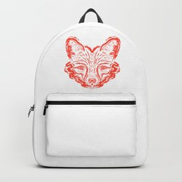 Muzzle foxes. Fox with sideburns, sketch strokes. Backpack