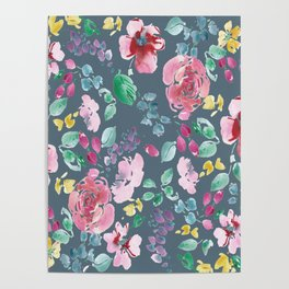 Pink Flowers on Gray Poster