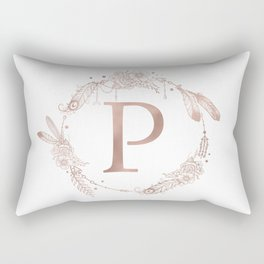 Letter P Rose Gold Pink Initial Monogram Rectangular Pillow