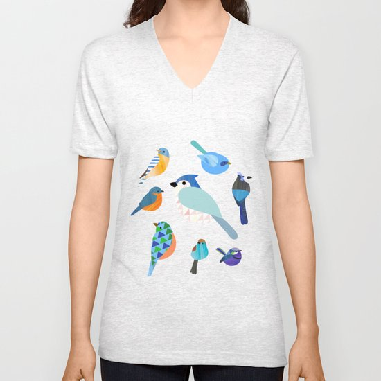Blue Birds Unisex V-Neck