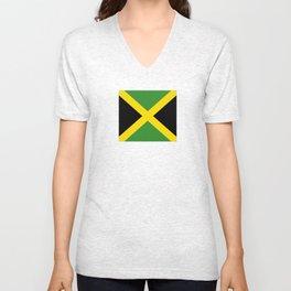 Flag of Jamaica-Jamaican,Bob Marley,Reggae,rastafari,weed,cannabis,ganja,america,south america,ragga Unisex V-Neck