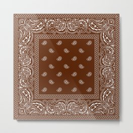 Bandana - Classic Brown - Paisley - Southwestern  Metal Print