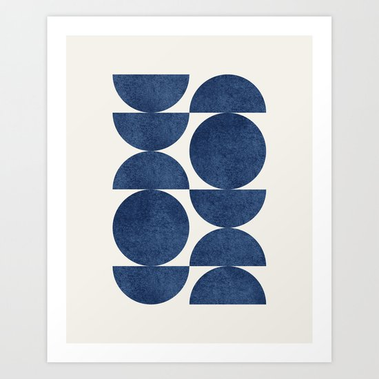 Blue navy retro scandinavian Mid century modern by moonlightprint