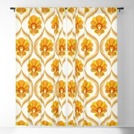 Ivory, Orange, Yellow and Brown Floral Retro Vintage Pattern Blackout Curtain
