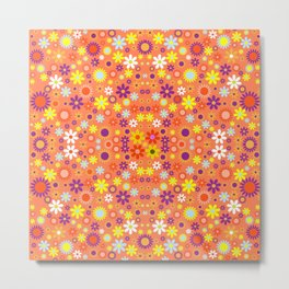 Living Coral Colorful Floral Pattern Metal Print