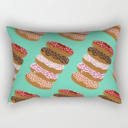 Stacked Donuts on Mint Rectangular Pillow