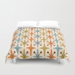 Mid Century Modern Abstract Star Pattern 441 Orange Brown Blue Olive Green Duvet Cover