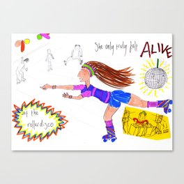 She Only Truly Felt Alive At The Rollerdisco Canvas Print