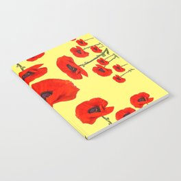 POPPY PIZZA RED-ORANGE  FLORAL DESIGN ON YELLOW ART Notebook