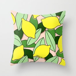 Lemons - Lemon Pattern - January Throw Pillow