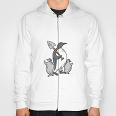 Penguin Holding Shovel With Chicks Drawing Hoody
