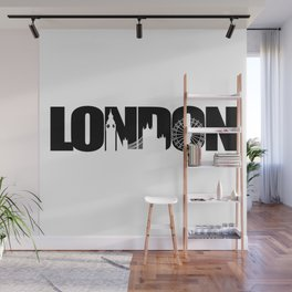 London Skyline Black Wall Mural