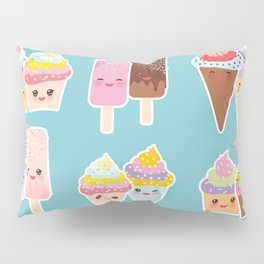 Kawaii cupcakes, ice cream in waffle cones, ice lolly Pillow Sham