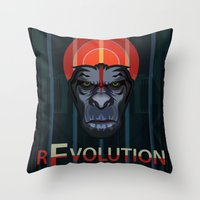 planet of the apes Throw Pillows featuring Dawn of the Apes by milanova